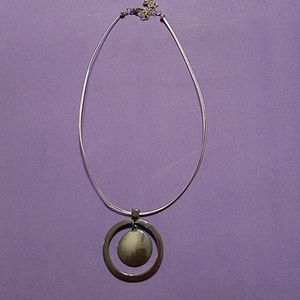 Jewelry - Iridescent Silver Choker Medallion Mecklace